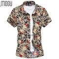 MOGU Casual Camisa 2017 Dos Homens de Manga Curta Camisa Da Cópia Da Flor homens Vestidos de Verão Tamanho Grande 7XL Camisa dos homens homens da Moda camisa