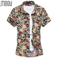 MOGU Casual Shirt 2017 Men Short Sleeve Flower Print Shirt Men Summer Dresses Large Size Men's Shirt 7XL Fashion men's Shirt