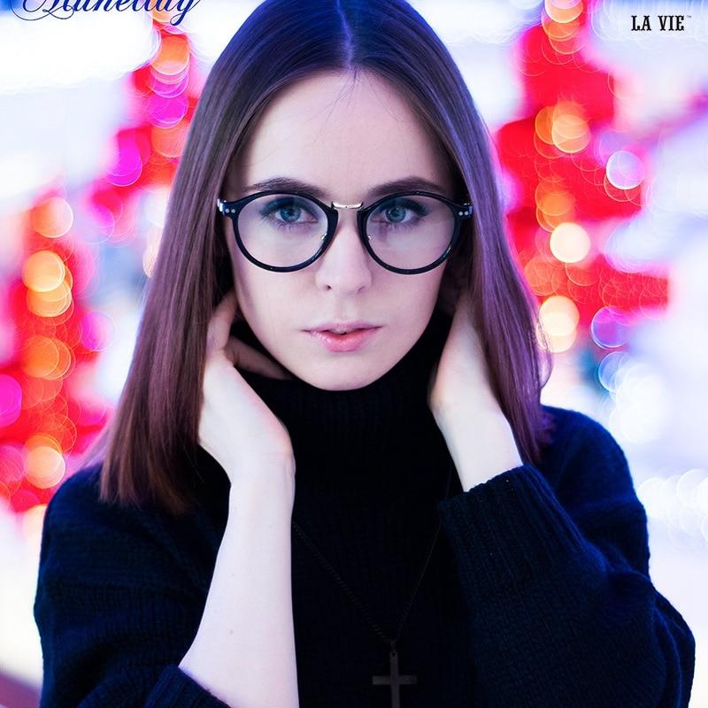 LA VIE Značka 2016 Vysoce kvalitní kovový potisk kulaté ženské třídy brýlí rám mít 6 barevných mužů transparentní brýle rám LV8078