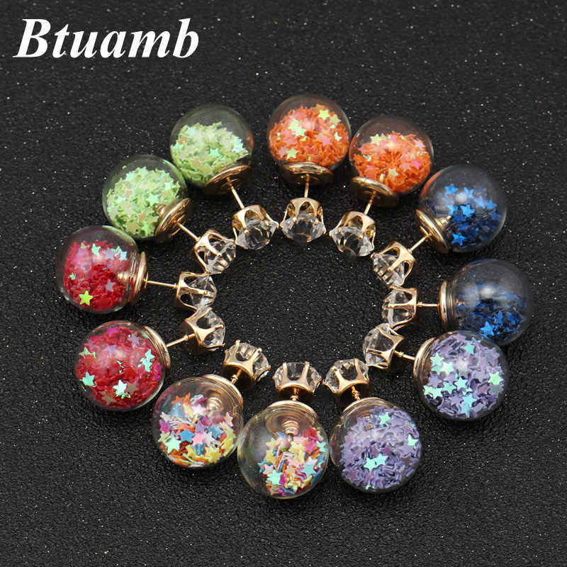 Btuamb New Maxi Crystal Crown Glass Stars Earrings Double Sides Big Ball Stud Earrings for Women Party Accessories Femme Bijoux