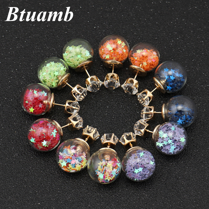 Btuamb New Maxi Crystal Crown Glass Stars Earrings Double Sides Big Ball Stud Earrings for Women Party Accessories Femme Bijoux(China)