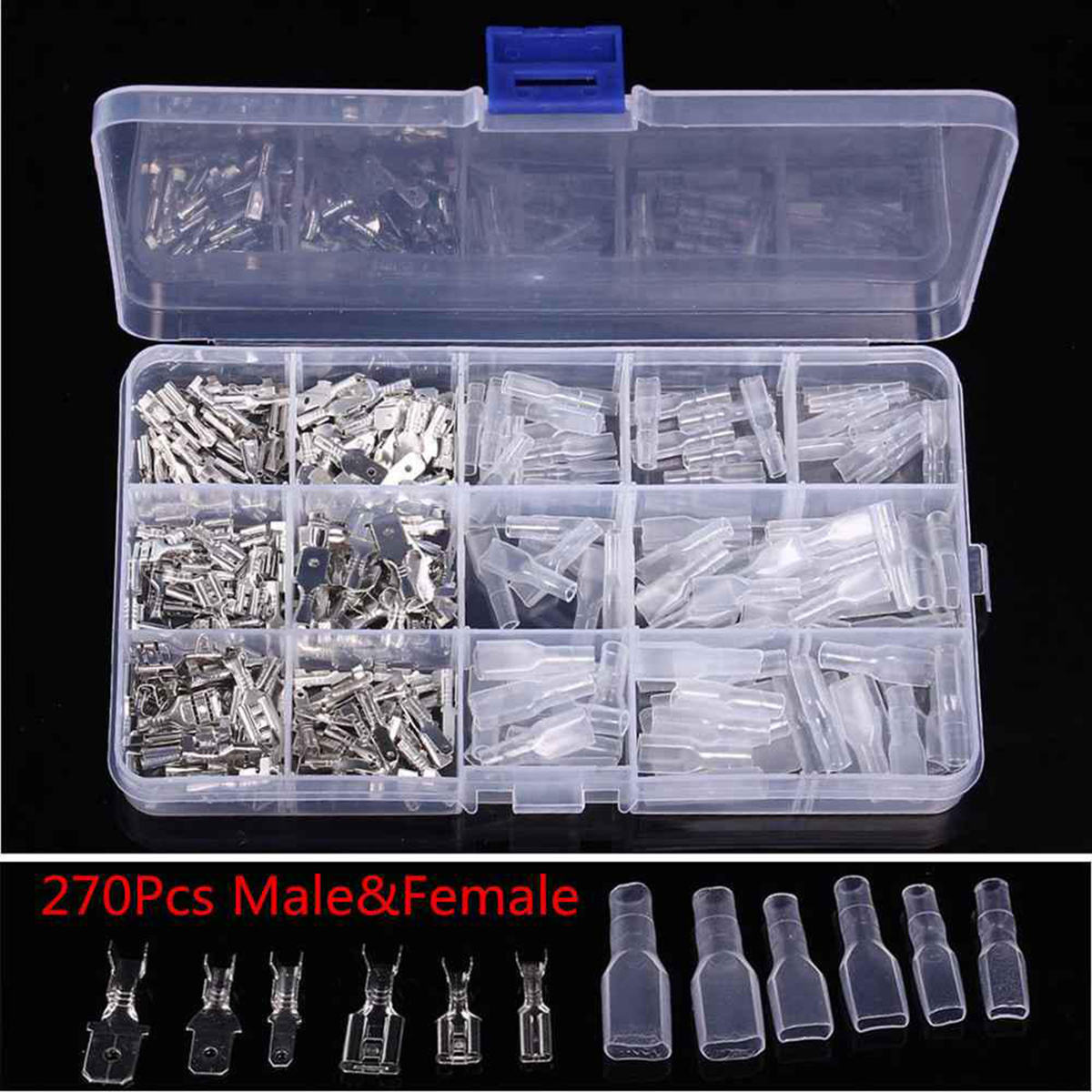 270PCS 2.8/4.8/6.3mm Non-Insulated Mixed Male And Female Spade Crimp Terminal Connector Kit With Storage Case