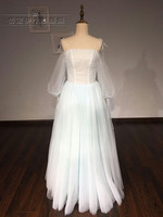 New Arrival Long Style Dresses Simple Pleat Tulle Evening Dresses Prom Party Light Blue Floor Length
