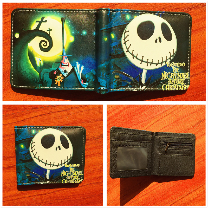 The Nightmare Before Christmas Jack Anime Wallets Mens Leather Pu Wallet Cartoon Purse Short Wallet W587 2016 anime one punch man wallets cute pu short cartoon long purse ab195