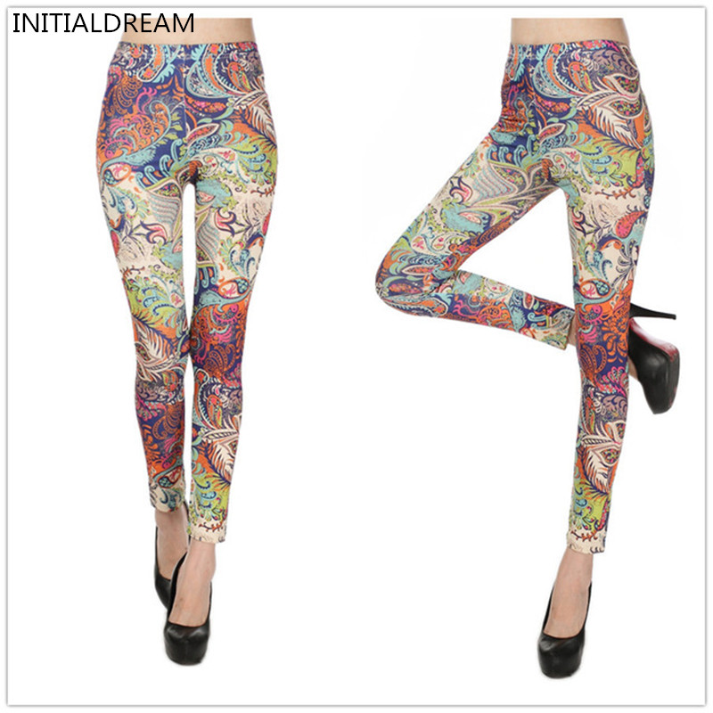 INITIALDREAM Brand Hot Sale 2019 New Printed Women's Leggings Mid Waist Women Stretchy Trousers Casual Pants Womens Leggings