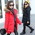 Sólidos Crianças Meninas Parkas Casaco de Inverno Crianças Outerwear Vestidos Crianças Para Baixo Casacos Trajes de Pele Grossa Com Capuz Roupas Estudantes