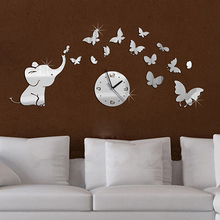 New arrival!  Metal 3D Modern DIY Home Wall Clock Elephants Play Butterfly Sticker Alloy Clock (Color: Silver) Store 243
