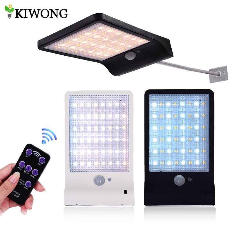 Upgrade 48 LED Lampu Tenaga Surya Dapat Disesuaikan Warna dengan Controller Tiga Mode Tahan Air Lampu Lampu untuk Taman Outdoor Wall Street