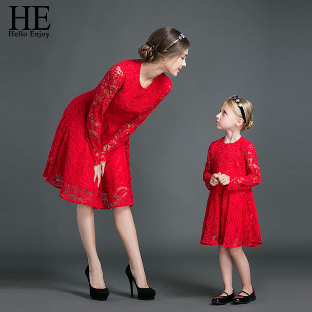 9a5f29f6a034 HE Hello Enjoy Mother Daughter Dresses Fall 2019 Family Matching Outfits  Long sleeves Red Lace Dress Woman Clothes Look Girls