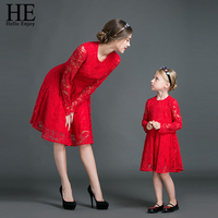 HE Hello Enjoy Mother Daughter Dresses New 2017 Family Matching Outfits Long Sleeves Red Lace Dress