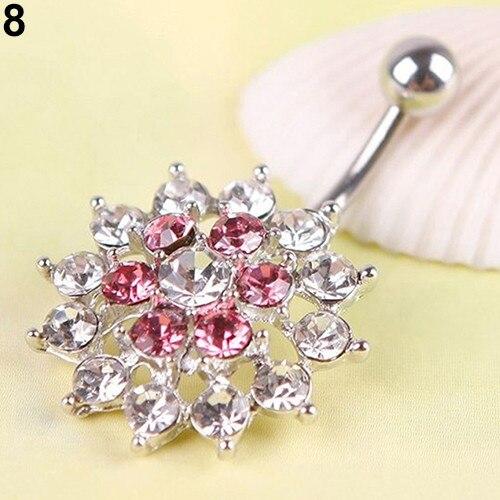 HTB11CUYPpXXXXcFXXXXq6xXFXXXX Women Body Piercing Jewelry Rhinestone Flower Belly Button Navel Ring - 8 Styles