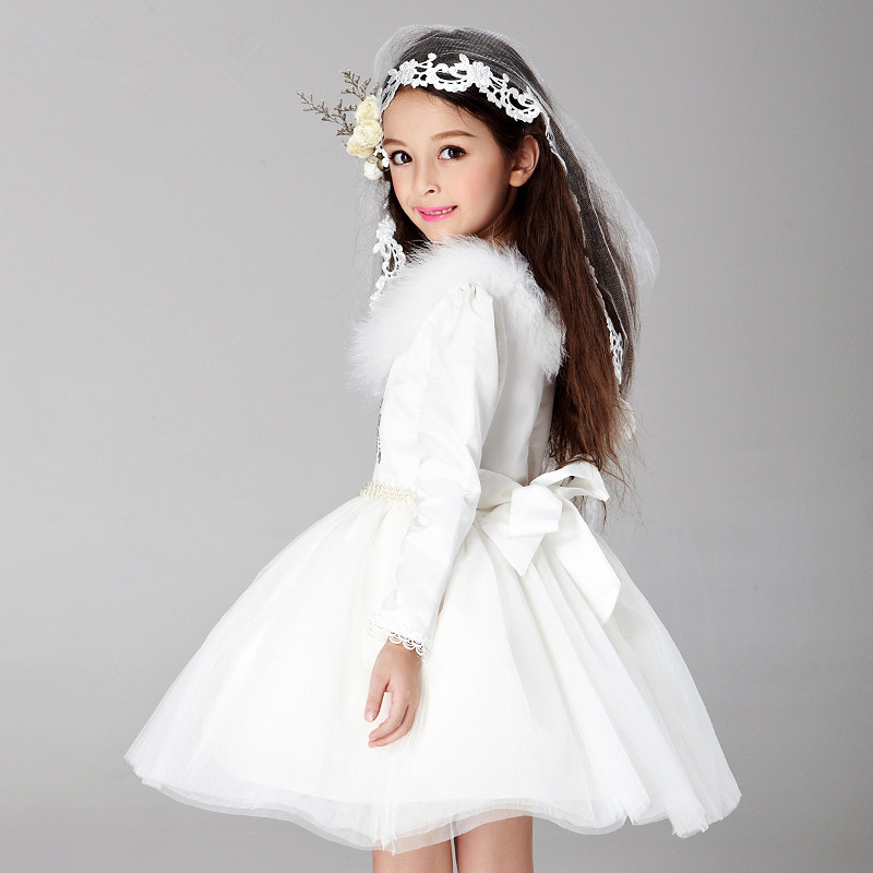 0b586a71c4 rep 2018 Spring Autumn Girls Winter Dress White Long Sleeved Wedding Flower  Girl Vestidos Party Costume For Holidays AKF165001-in Dresses from Mother    Kids ...