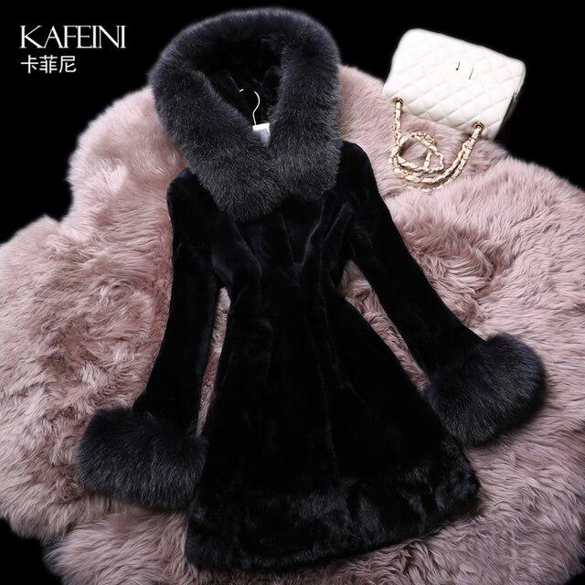 Luxury Winter Women's Genuine Natural Rex Rabbit Fur Coat Fox Fur Hooded Mink Fur Hem Plus Size Outerwear VF0260