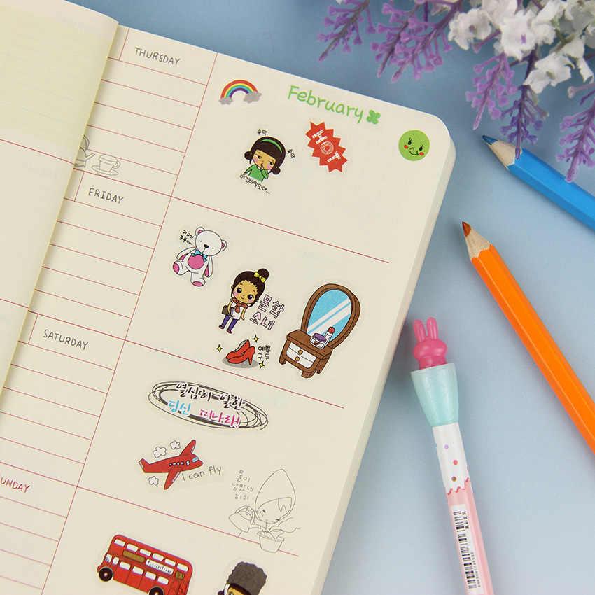 4 unids/pack vida diaria 4 hojas lindo papelería viajes Pvc pegatinas para agenda kawaii notas adhesivas Papelaria