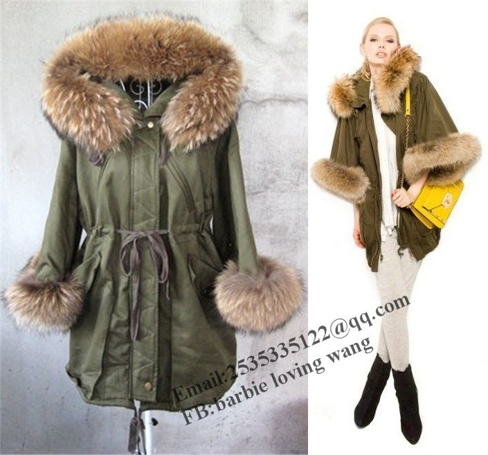 Free EMS DHL Black & green Genuine Raccoon fur collar coat ...