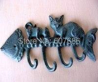 2pcs Lot Metal Kitty Cat Wall Mount Key Holder Hook Cast Iron Bowl Fish Bone Skeleton