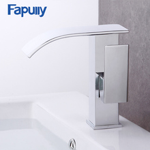 Fapully bathroom basin mixer sink faucet chrome single handle waterfall Basin taps