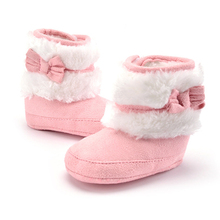 Baby Girls Fashion Solid Bowknot Snow Boots Girls Crib Shoes Infant Toddler Winter Warm Fleece Boots
