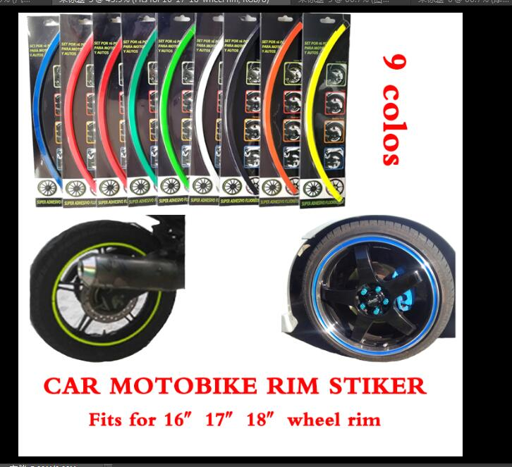 10 Colors,18 Stripes 14″-18″ Wheel Rim Decal Sticker for Car & Motorcycle,Best Car Styling,Strong blister pack,Free Shipping