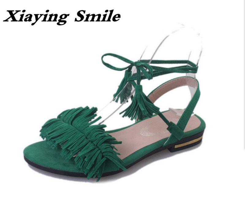 Xiaying Smile Summer Woman Sandals Women Flats Casual Fashion Solid Lady Sweet Flock Fringe Lace Up Cross Tie Rubber Women Shoes xiaying smile summer new woman sandals platform women pumps buckle strap high square heel fashion casual flock lady women shoes