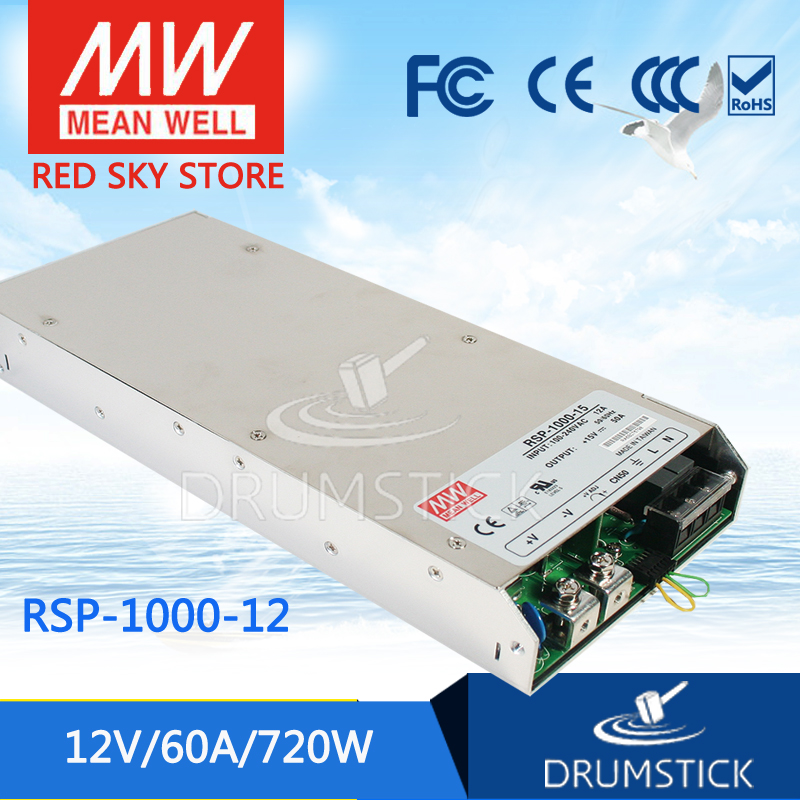 Selling Hot MEAN WELL RSP-1000-12 12V 60A meanwell RSP-1000 12V 720W Single Output Power Supply selling hot mean well rsp 150 27 27v 5 6a meanwell rsp 150 27v 151 2w single output with pfc function power supply