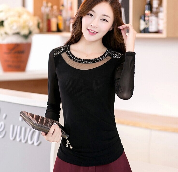 4393c807816 womens tops fashion 2015 ladies winter warm velvet thickening long sleeve o  neck sexy t shirt women gauze basic top plus size
