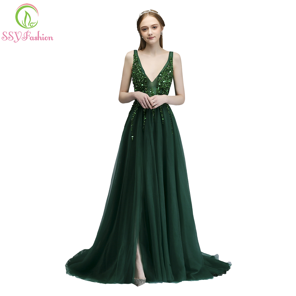 SSYFashion New High-end   Evening     Dress   Sexy Sleeveless V-neck Backless Green Sequins Beading Party Gown Custom Formal   Dresses