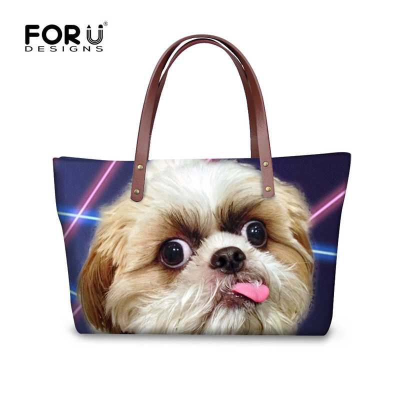 FORUDESIGNS 3D Shih Tzu Printed Handbags Women Famous Brands,Schnauzer Dog Woman Tote Hand Bag,Large Ladies Beach Shoulder Bags forudesigns vintage black pet dog printed women large handbags fashion ladies top handle bag girls shoulder female big tote bag
