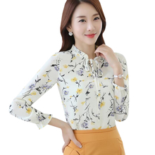 2017 New Floral Print Chiffon Blouse Spring Autumn Women Casual Loose Tops Shirts Elegant Slim Bottoming Shirt Plus Size AB263