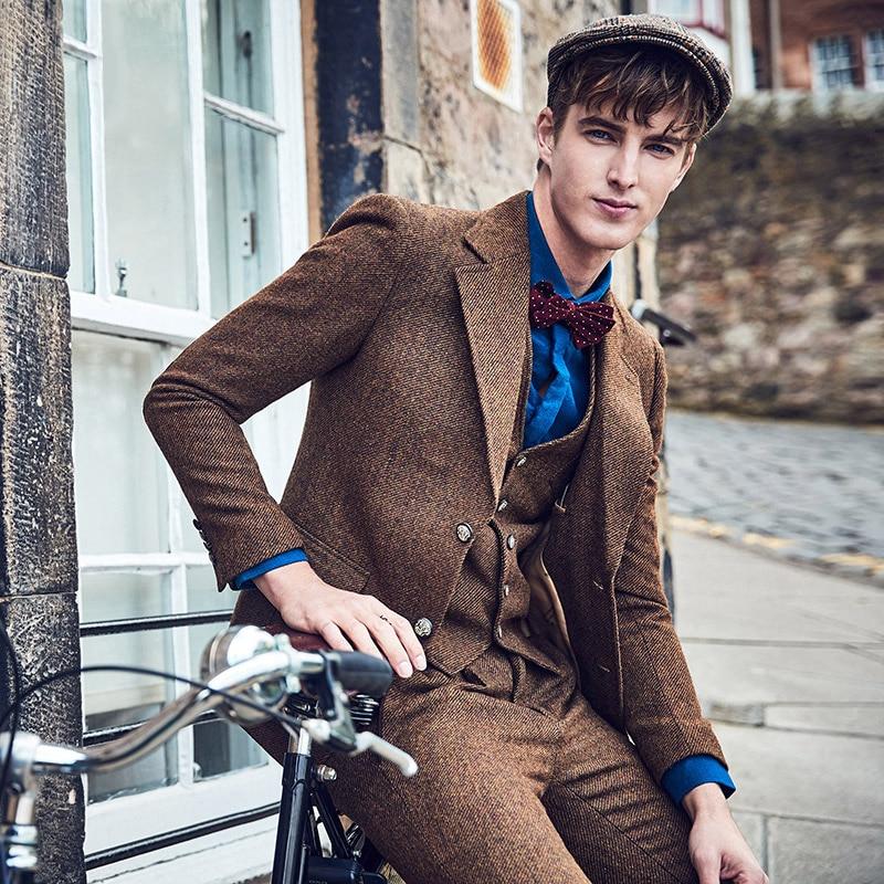 Brand Clothing 60% Wool Blazer Men Slim Fit Single