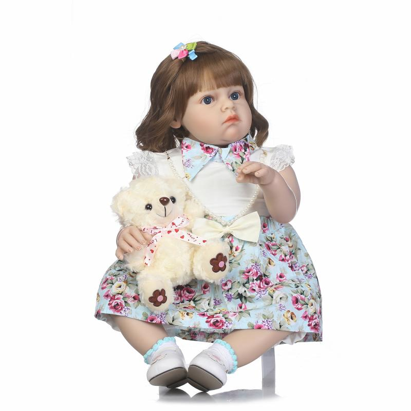 70cm Silicone Reborn Baby Doll Toy 28inch Lovely Princess Toddler Girl Babies Doll Toy With Bear Fashion Birthday Gift Present  18 inch lovely american girl princess doll baby toy doll with fashion designed dress journey girl doll alexander doll