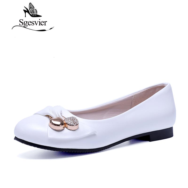 SGESVIER Women's Flats Fashion Shoes Flat Heel Shoes Large Size 34-47 Female Ballet Shoes Women Slip-on Round Toe Flats AA254 large size 34 47 women s fashion shoes woman flats spring shoes female ballet shoes metal pointed toe solid casual shoes x2
