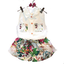 2018 Summer New Style Girls White Vest Flower Shorts Set Lovely Kids Casual Clothes Fashion Children's Outwear Age 1-7Y 18M01(China)