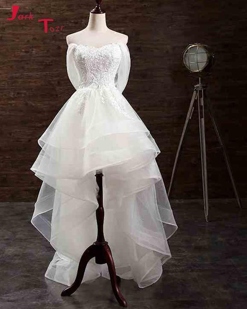 Simple Low Key Wedding Dresses: Jark Tozr Strapless White Appliques Simple High Low