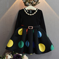 Baby girls dress Black Dot with belt dress autumn dresses for birthday party long sleeve princess necklace vestido infantil