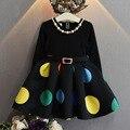 Niñas bebés vestido de Punto Negro con cinturón vestido de otoño vestidos para la fiesta de cumpleaños de manga larga princesa collar vestido infantil