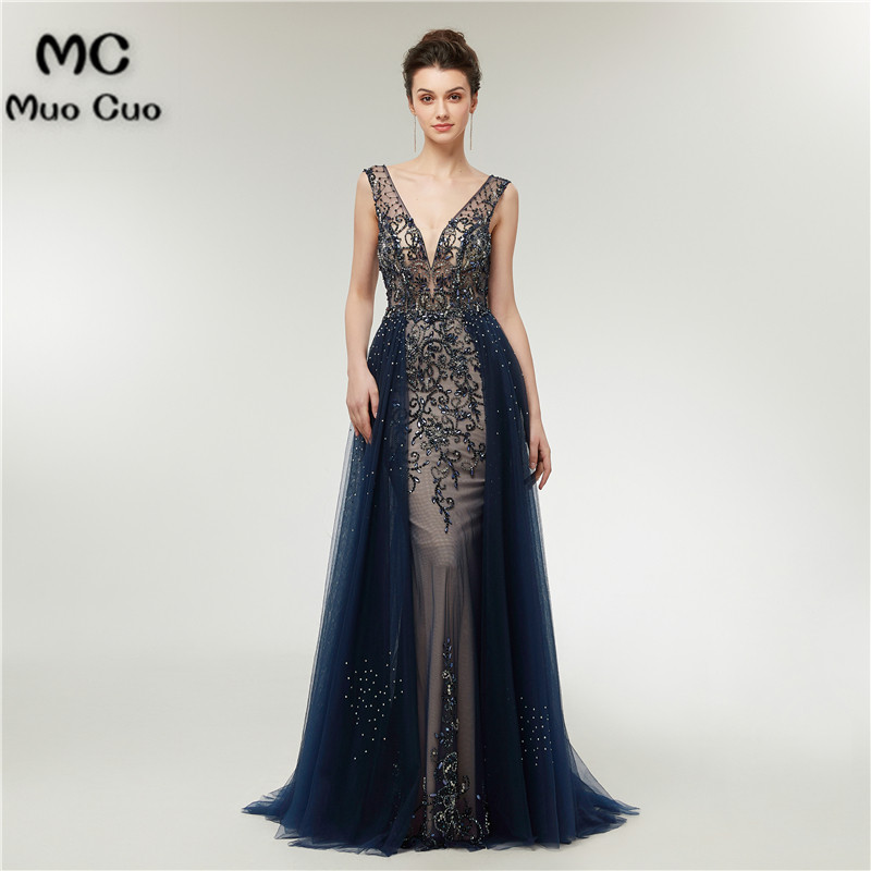 Luxuries 2018 Navy Blue Prom Dresses Long with Beaded vestido de festa Deep V Neck Beaded