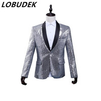 silver sequin jacket blazer singer dancer show male DS dance costumes outerwear coat DJ nightclub performance stage prom wedding