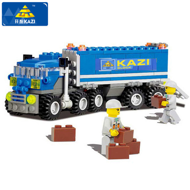KAZI Dumper Truck Building Blocks Set Model 163+pcs Enlighten Educational DIY Construction Bricks Playmobil Toys For Children 163pcs set kids bricks birthday gifts enlighten child educational toys dumper truck diy toys building blocks set