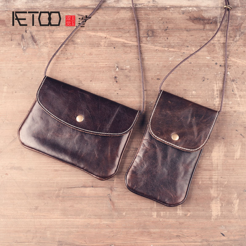 2017 new summer retro handmade leather first layer of leather mini messenger bag small handbag shoulder Vintage wallet bag qiaobao 2018 new korean version of the first layer of women s leather packet messenger bag female shoulder diagonal cross bag