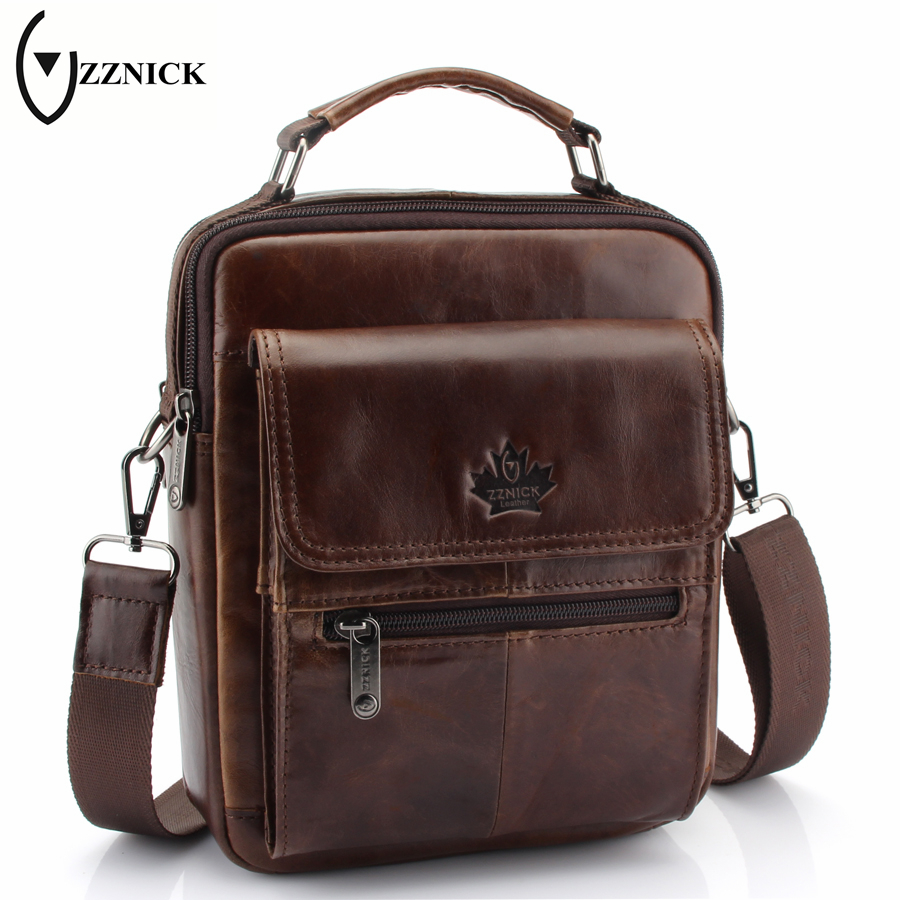 ZZNICK 2018 New Genuine Leather Bag Men Crossbody Bags Fashion Men's Messenger leather Shoulder Bags Handbags Travel Male Bag