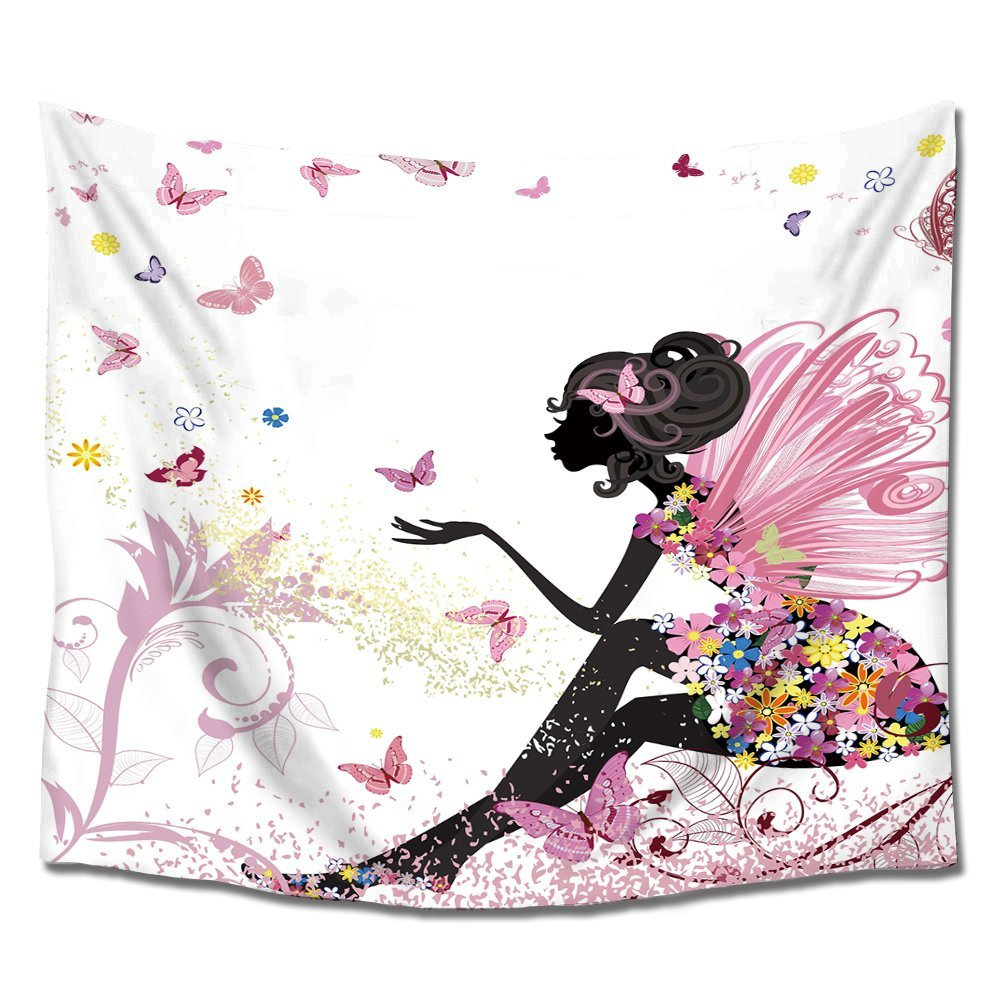 Trendy Pink Flower Fairy Girl With Butterfly Wall Tapestry Hanging