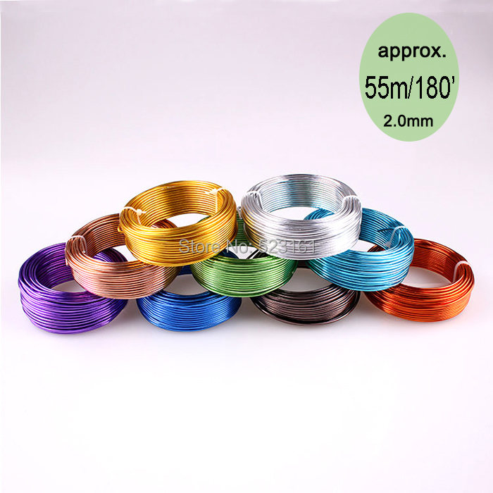 wholesale 55m 180ft 60yd of 2mm colored aluminium handcraft soft ...