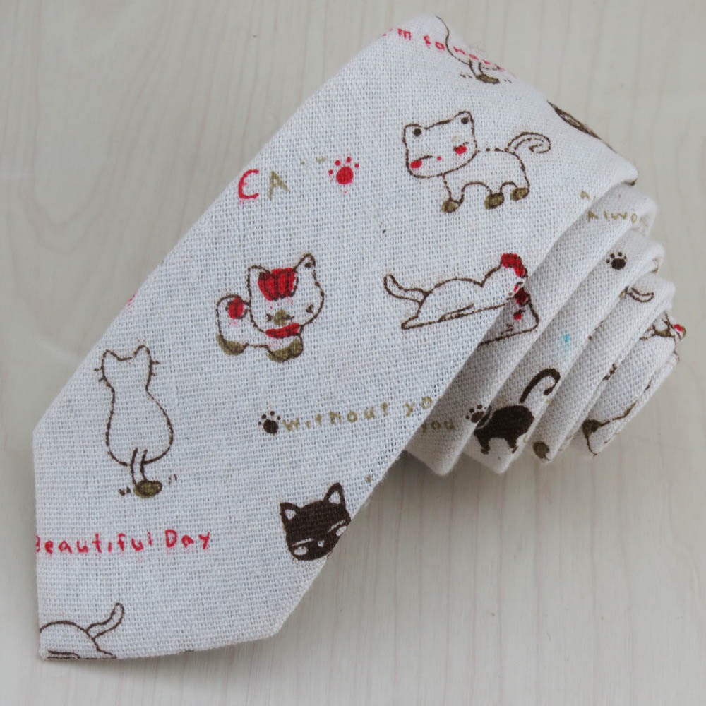 (1pcs/lot)A Very Cute Little Cat Pattern Tie Male Or Female Attendant Personality Tie/flax Fabric