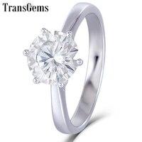 Transgems 14 K 585 Белое золото Муассанит бриллиантовое Обручение кольцо для Для женщин Fine Jewelry центр 2ct F Цвет Муассанит кольцо
