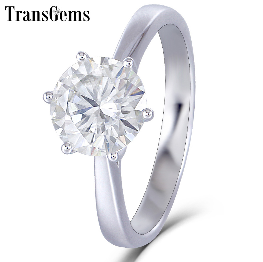 Transgems 14K 585 White Gold Moissanite Diamond Engagement Ring for Women Fine Jewelry Center 2ct F Color Moissanite Ring