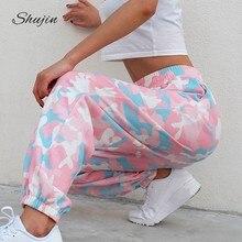 4390fef8a3c3b SHUJIN 2019 Розовый камуфляж брюки женские Camo Cargo тренировочные штаны  Высокая Талия лосины Повседневное трико для мужчин печ.