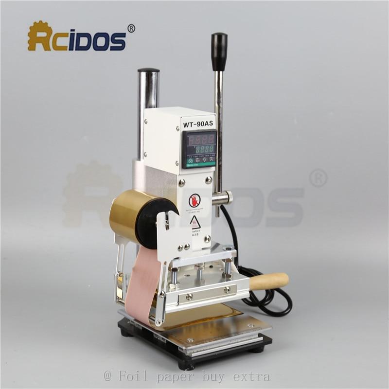 WT 90DS + т типа латунные буквы RCIDOS штемпелюя машина, кожа бронзируя, машина для горячего тиснения фольгой, 110В/220В, с держателем рулона фольги - 2