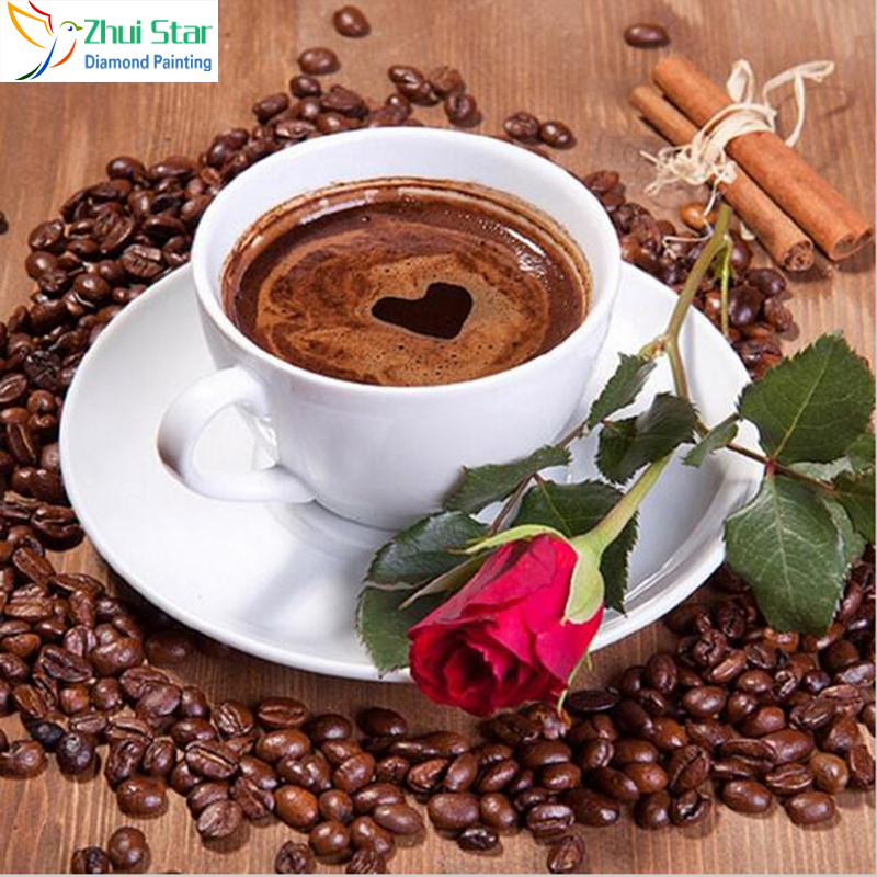 3D Coffee Cup Pattern Diamond Embroidery DIY Needlework Diamond Painting Cross Stitch Full Drill Rhinestone Painting Decor zx