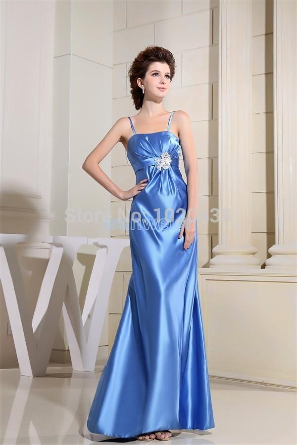 free shipping 2016 formal dress new design  brides maid dress beading custom size/color blue long floor length evening Dresses